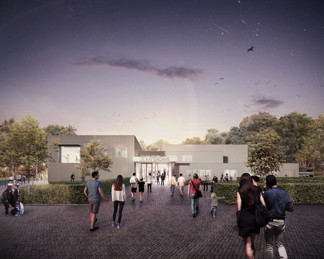 BERGEIJK - Artist impression van het nieuwe exterieur van theater de Kattendans, na de renovatie.