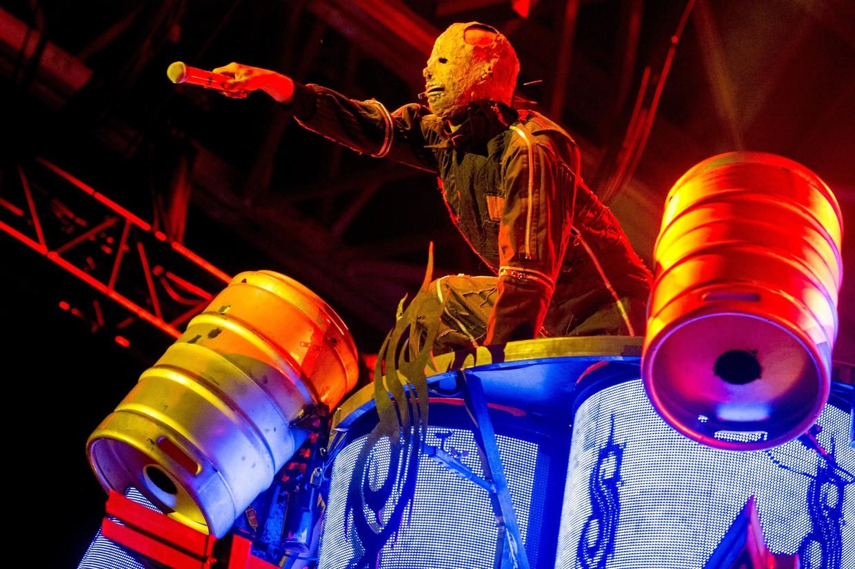 Slipknot, hier tijdens een optreden in Quebec, heeft een nieuwe plaat. Beeld Photo News