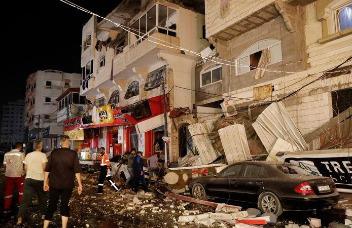 Schade in Gazastad na de Israëlische aanvallen.