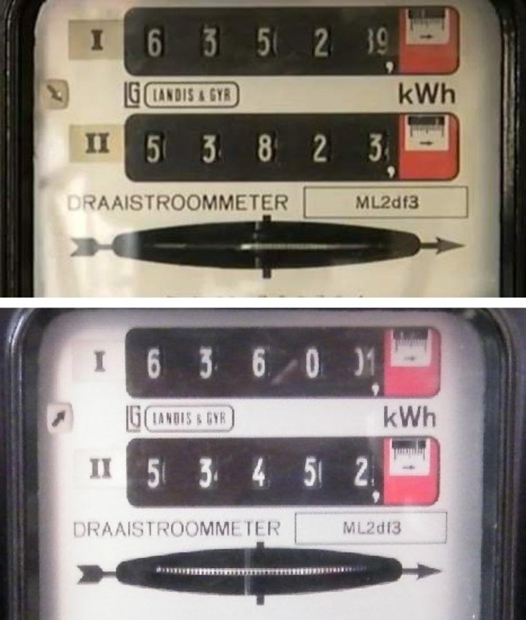 Boven: de meterstanden op het moment dat mijn zonnepanelen stroom gingen leveren op 12 mei 2011. Onder de slotstand toen eind januari mijn draaischijfmeter werd vervangen door een slimme meter. In bijna 10 jaar kwam er 71 kWh bij op teller I, op teller II  ging er 371 kWh af. In die tien jaar heb ik dus 300 kWh meer geproduceerd dan verbruikt. Beeld Vincent Dekker