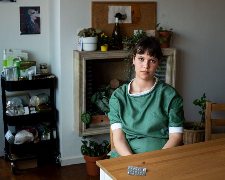 Ans Van Gasse (23) van Anticoncept!: 'We zijn niet tegen de pil, wel voor een geïnformeerde keuze.' Beeld Wouter Maeckelberghe