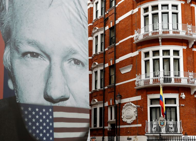 De ambassade van Ecuador in Londen, waar Assange sinds 2012 zat.  Beeld Reuters