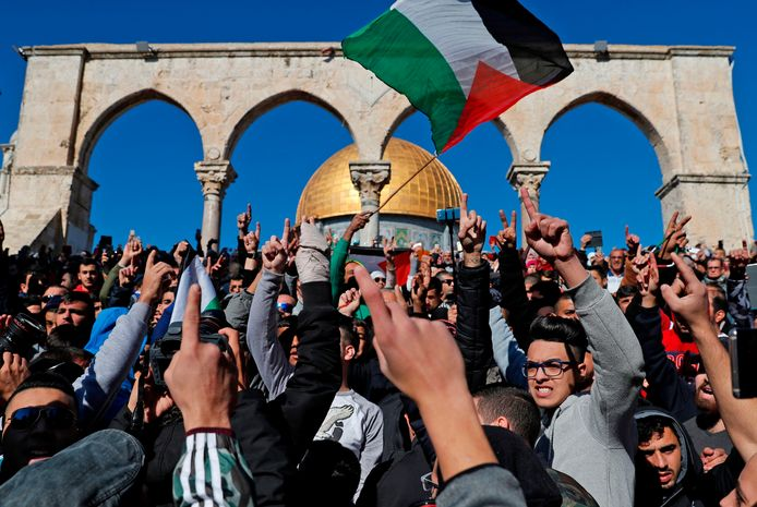 Protest aan de al-Aqsa-moskee in Jeruzalem.