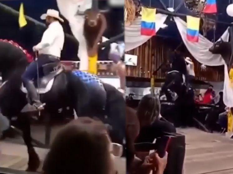 Paardenshow in Colombiaans restaurant gaat mis