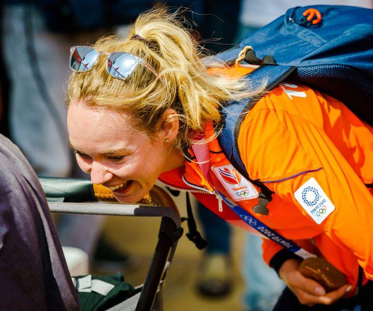 Anna van der Breggen bij het Olympic Festival in Scheveningen, na de Spelen van Tokio waar ze een bronzen plak pakte. Beeld ANP