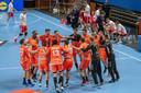 De Nederlandse handbalmannen vierden de plaatsing voor het EK.