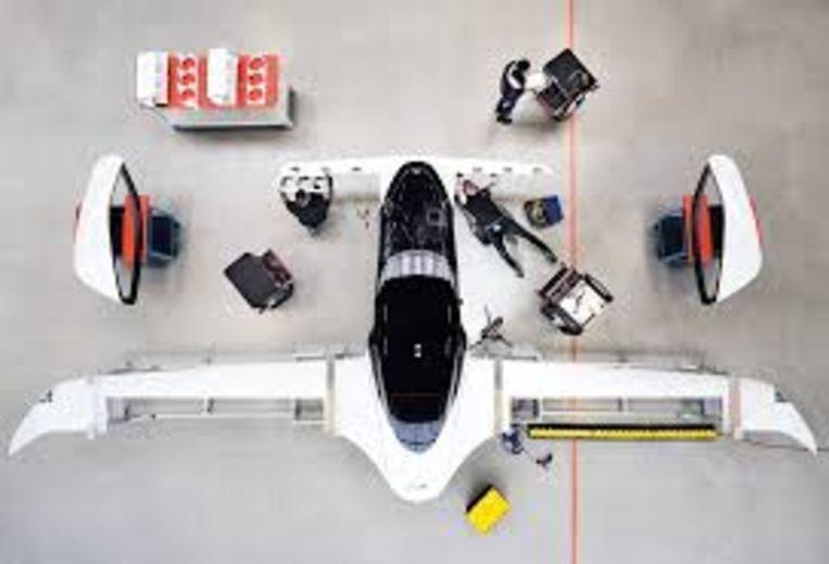 Protoype van de elektrische vliegtaxi Lilium in aanbouw in München. Beeld Lilium
