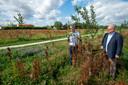Bemmel, 28 juli 2020. Plaksche Veld aanwinst park Lingezegen. Tony Berns (witte Blouse) en Theo Janssen bij Pruimenboompje. 211970 . dgfoto . Foto: Gerard Burgers