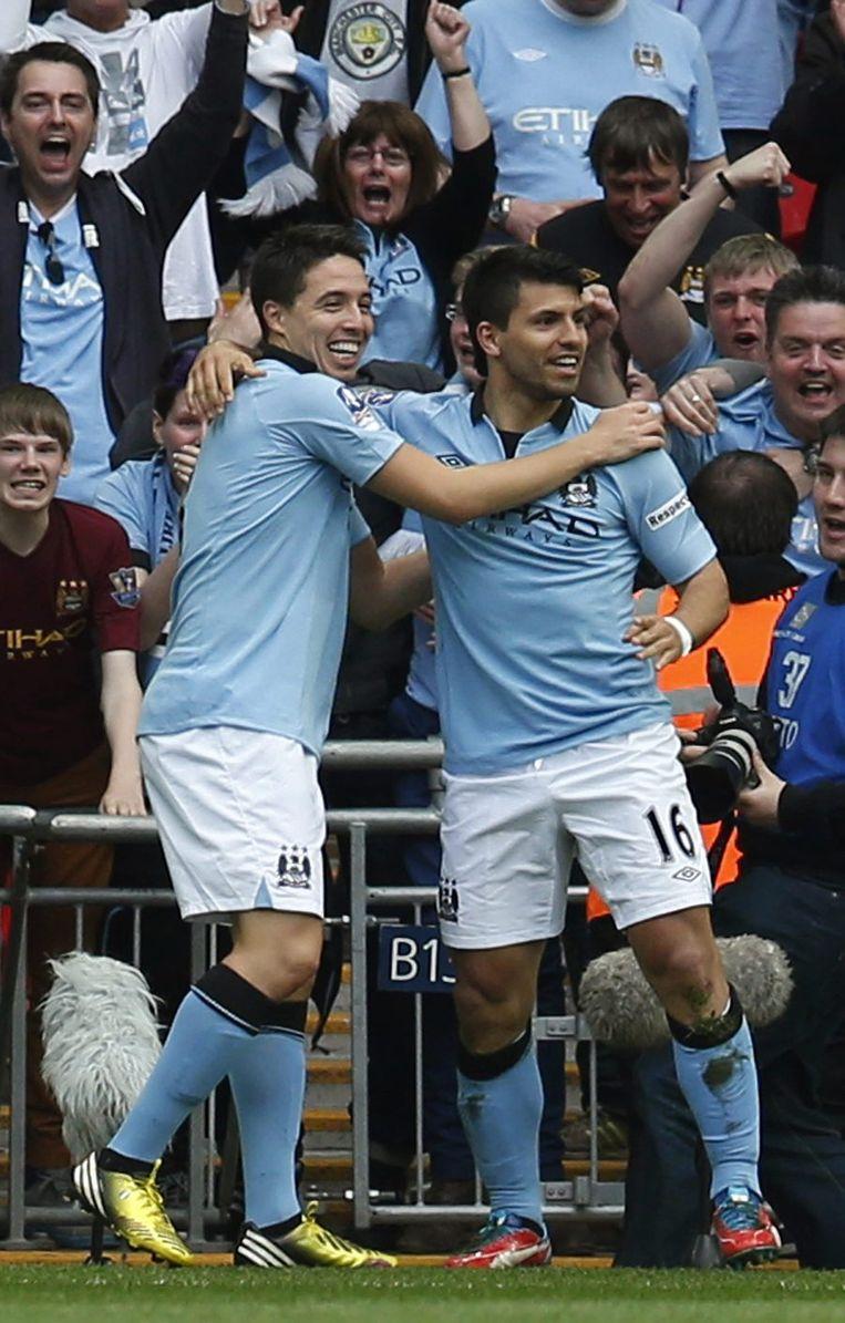 Nasri en Aguero, de doelpuntenmakers van City. Beeld REUTERS