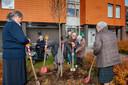 Marietje de Bijl (midden) helpt bij het planten van een boom in de tuin van zorgcentrum 't Slot Gameren. Ze werkt er sinds de oprichting, 50 jaar geleden.