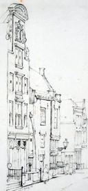 Het Steegoversloot in 1857. Het huis met de lantaarn was van bakker Kamerling. Het werd in 1864 gesloopt voor de bouw van het nog bestaande hoekpand. De grote gevel links is er in gewijzigde vorm nog steeds.