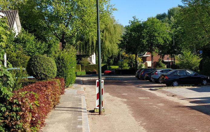 Lantaarnpaal óp de weg: curiosum in de Dokter Schräderlaan te Oisterwijk (mei 2018).
