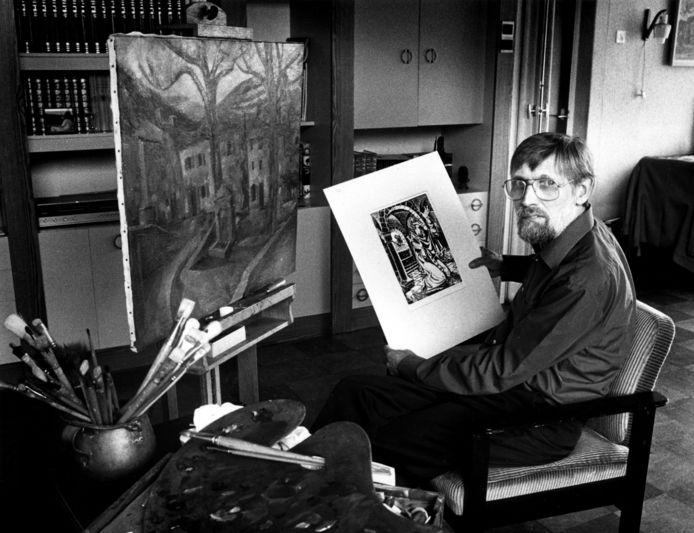 Wijlen Jan van den Brink met een lino voor de restauratie van de Lambertuskerk. Deze week werd de 100ste geboortedag van de Etten-Leurse kunstenaar herdacht.
