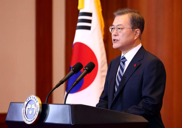De nieuwjaarsrede van de Zuid-Koreaanse president Moon Jae-in. Beeld REUTERS