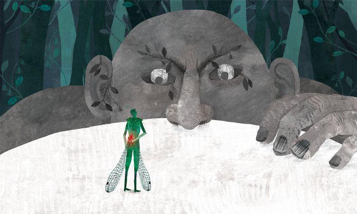 Een illustratie uit het boek De vuurvogel.