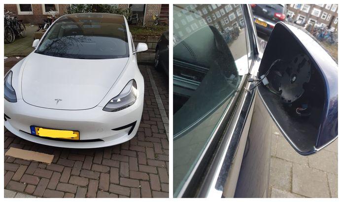 Bij deze Tesla werden de buitenspiegels gestolen.