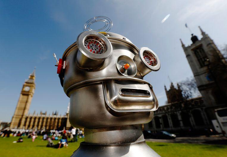Een robot van de Campaign to Stop Killer Robots.