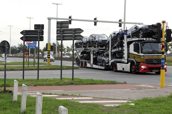 Het kruispunt Kaprijke op de N49.