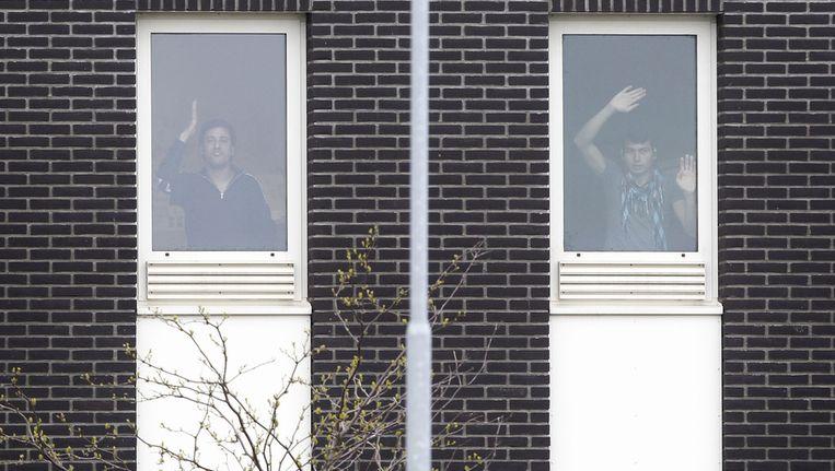 Hongerstakers in het detentiecentrum in Rotterdam. Beeld anp