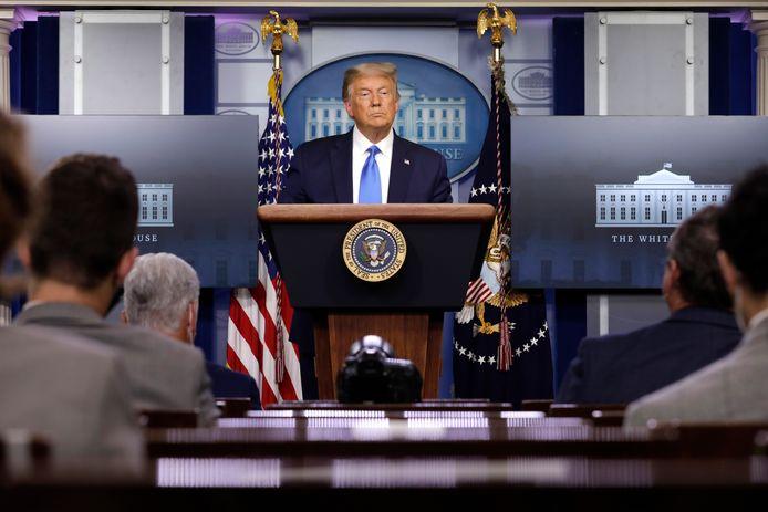 Trump tijdens een persconferentie in het Witte Huis.