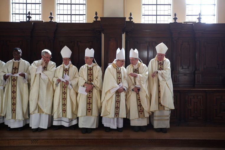 'Moderne' priesters in de Kathedraal van Westminster in Londen (2012). Beeld Getty Images
