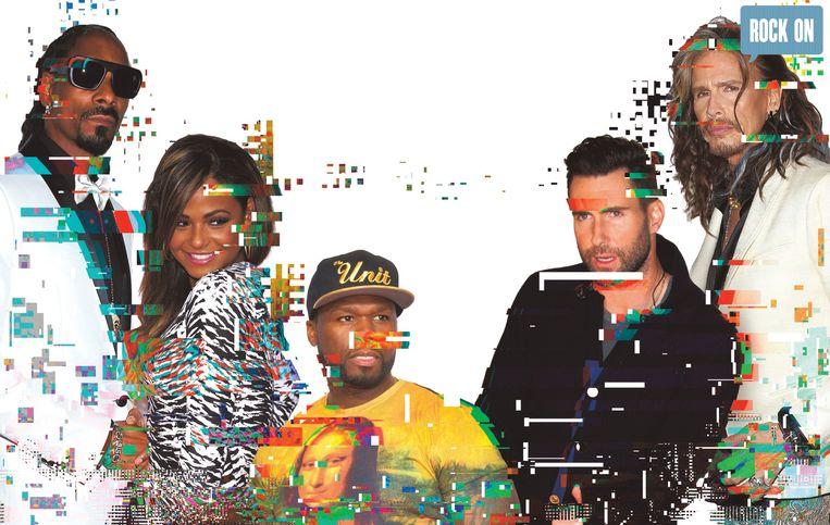 Rapper Snoop Dogg, zangeres en actrice Christina Milian, rapper 50 Cent, zanger van Maroon 5 Adam Levine en Steven Tyler van Aerosmith laten hun chatbots met hun fans praten. Beeld dm