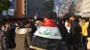 Brusselse Irakezen betogen tegen Iraaks regime op Schumanplein