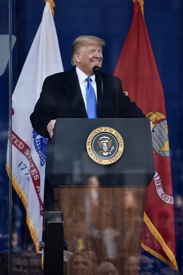 Donald Trump tijdens zijn speech voor de veteranen. Beeld WireImage