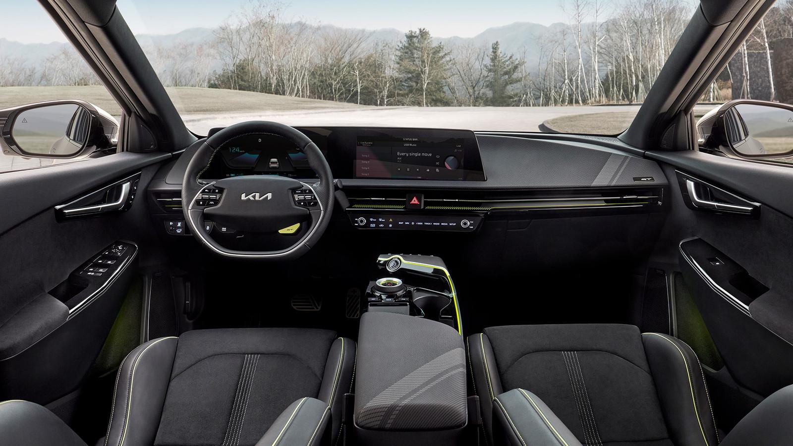 Het interieur van de Kia EV6 GT.