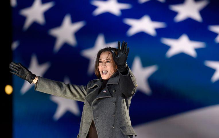 Met de verkiezing van Biden tot president krijgt Amerika ook zijn eerste vrouwelijke vicepresident, tevens de eerste vicepresident van kleur: Kamala Harris. Beeld AP
