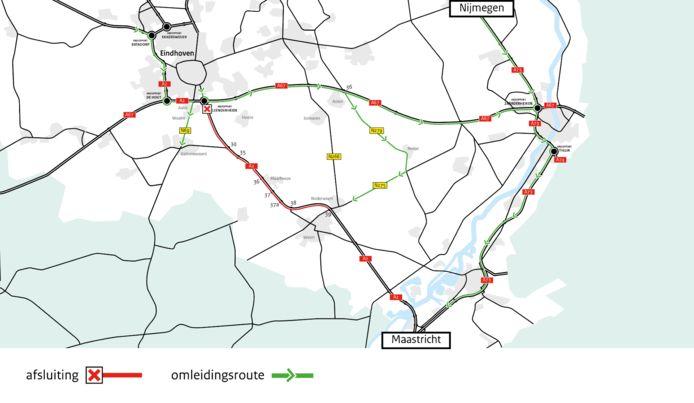 Vanwege onderhoudswerkzaamheden gaat de A2 in maart een weekend dicht tussen knooppunt Leenderheide bij Eindhoven en afrit Kelpen-Oler.