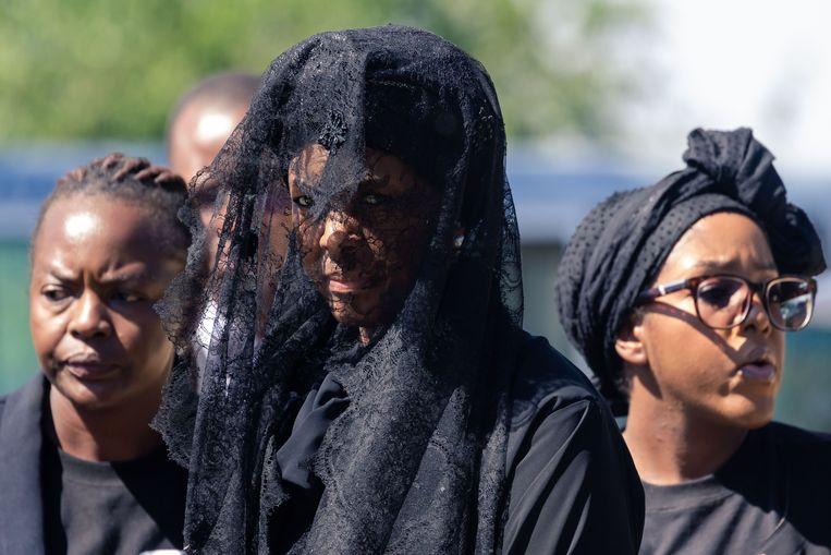 Grace Mugabe tijdens de begrafenis van Robert Mugabe  in Kutama. Beeld AFP