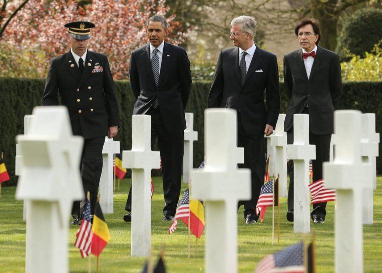 President Obama bezoekt de Amerikaanse begraafplaats 'Flanders Field' aan het Spitaalbos in Waregem. Beeld EPA