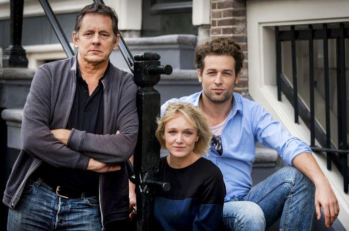 Regisseur Dick Maas, Sophie van Winden en Julian Looman. ANP Kippa