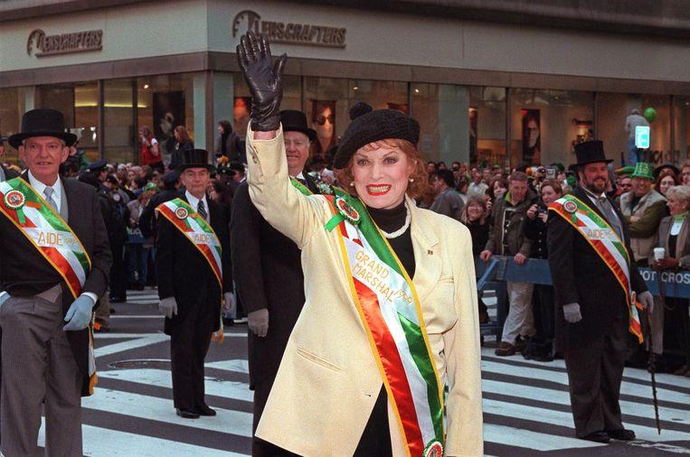 O'Hara tijdens de St Patrick's Day optocht in New York in 1999. Beeld AP