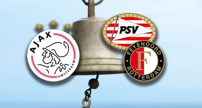 De logo's van PSV, Ajax en Feyenoord.