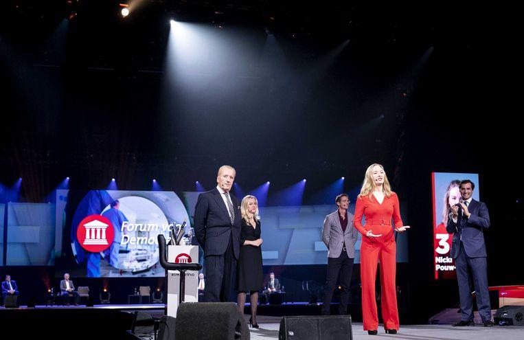 Theo Hiddema, Eva Vlaardingerbroek, Joost Eerdmans, Nicki Pouw-Verweij en Thierry Baudet vorige maand, tijdens de presentatie van de eerste tien kandidaten van Forum voor Democratie (FVD) voor de Tweede Kamerverkiezingen. Beeld ANP