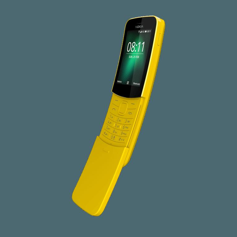 De (gele versie van) de Nokia 8110. Beeld HMD Global
