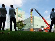 Uitklapbare energietoren voor festivals opgebouwd op TU/e-campus
