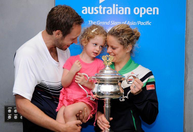 Kim Clijsters met man Bryan en dochter Jada na winst op de Australian Open in 2011.