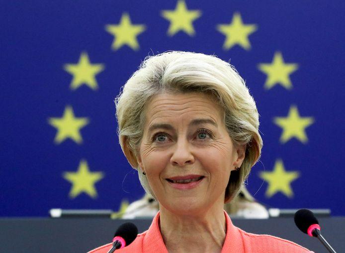 Voorzitter van de Europese Commissie Ursula von der Leyen spreekt Europa toe in de 'State of the Union'.