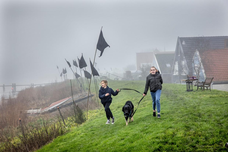 Uit protest tegen de huidige plannen van dijkverzwaring planten bewoners zwarte vlaggen op de dijk. Beeld Jean-Pierre Jans