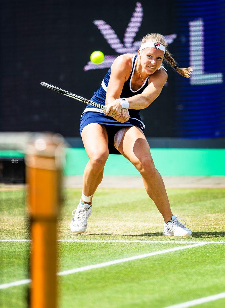 Kiki Bertens in actie tijdens het toernooi van Rosmalen in 2019.  Beeld Jiri Büller