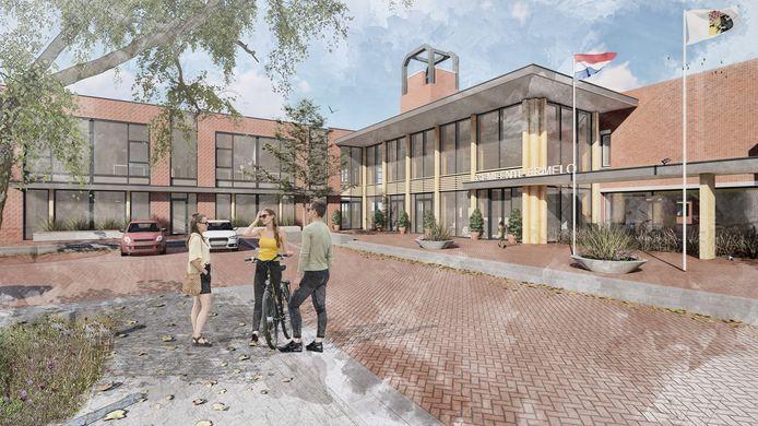 Impressie van de nieuwe voorgevel van het gemeentehuis van Ermelo (rechts) en De Dialoog (links).
