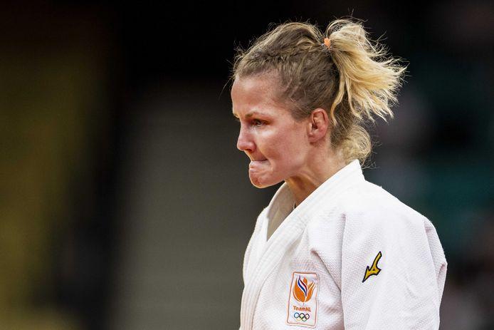 Juul Franssen reageert na haar partij tegen Maria Centracchio (ITA) in de Nippon Budokan tijdens het judotoernooi van de Olympische Spelen van Tokio.