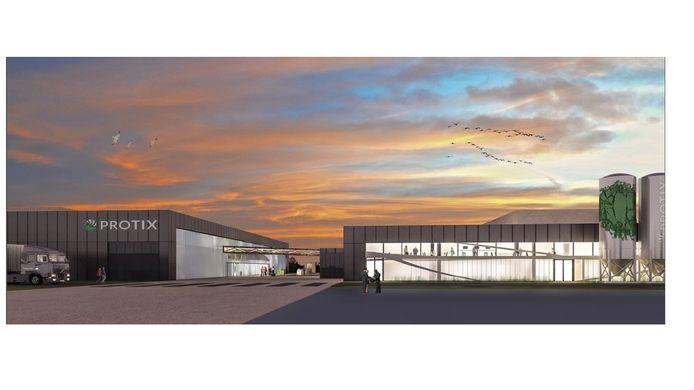 De artist impression van de nieuwe fabriek zoals Protix die wil bouwen in Den Bosch.