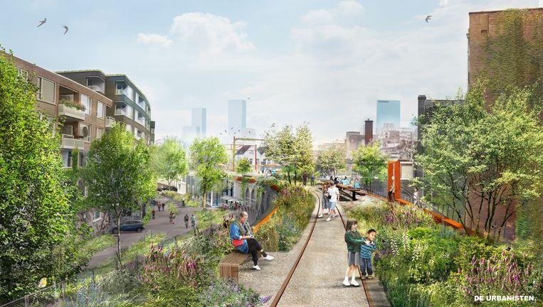 Zo gaat het nieuwe Hofbogenpark in Rotterdam eruitzien. Eind 2024 moet het mogelijk zijn om vanaf het centrum naar de A20 te wandelen. Beeld