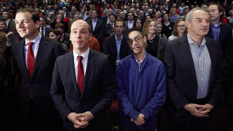 Lodewijk Asscher, Diederik Samsom, Fouad Sidali en Job Cohen op een partijcongres in 2014 Beeld ANP
