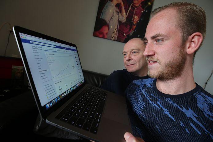 Henry Olthuis (links) en Glenn Holtus kijken naar hun groeicijfers. Foto: Theo Kock