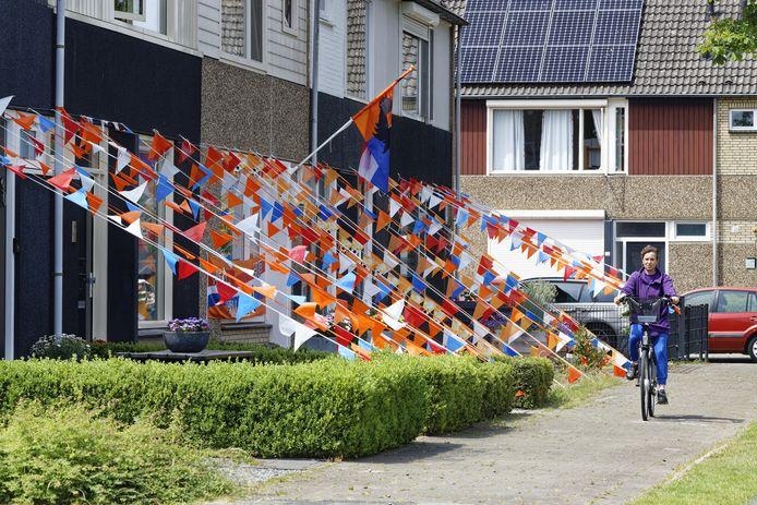 Vlaggetjes voor Oranje aan de Europalaan in Boxtel.